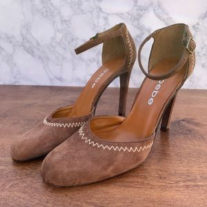 Bebe Suede Heels Leather Brown Round Toe Shoes